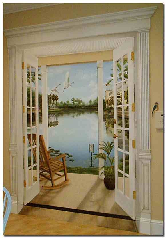 trompe l oeil rooms - No excuse to have a bare wall in your house, this is so cool