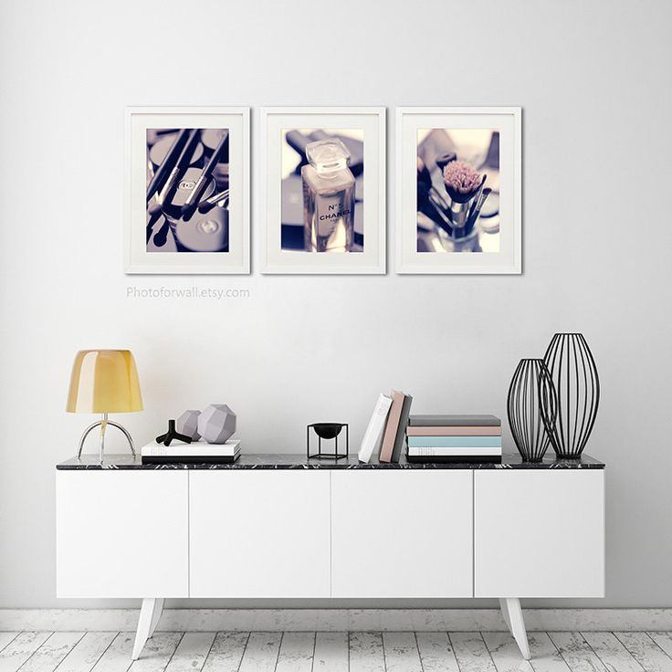 Bathroom Art Set of 3 Photographs, Chanel Bathroom set, pink decor, large wall art, Shabby Chic Chanel decoration, Chanel makeup bathroom by PHOTOFORWALL on Etsy