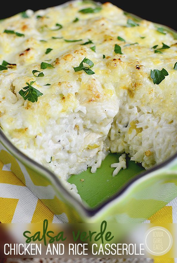 Gluten-free Salsa Verde Chicken and Rice Casserole is totally cravable. Creamy, cheesy comfort food with a Mexican twist. #glutenfree | iowagirleats.com