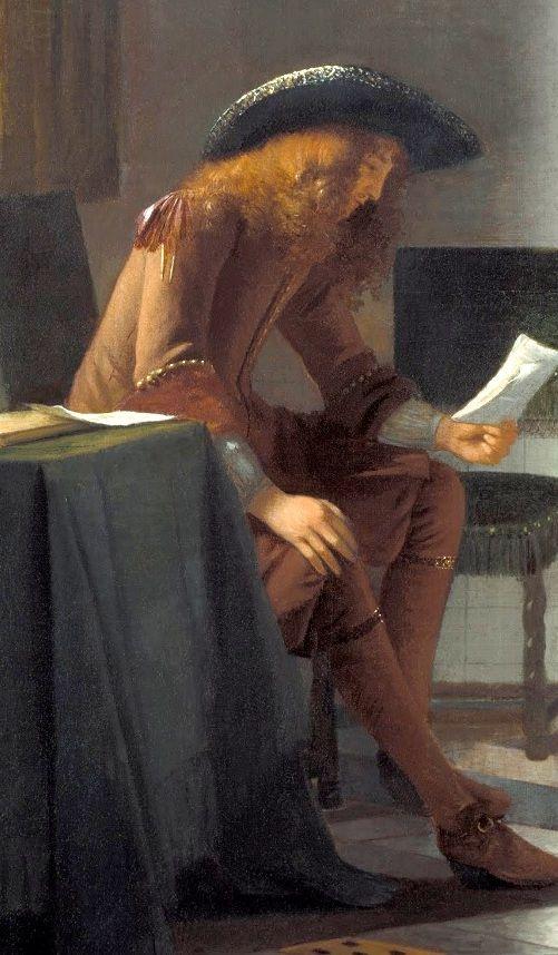 Man reading a letter to a woman, Pieter de Hooch, 1674 - 1676, detail, from Google Art Project