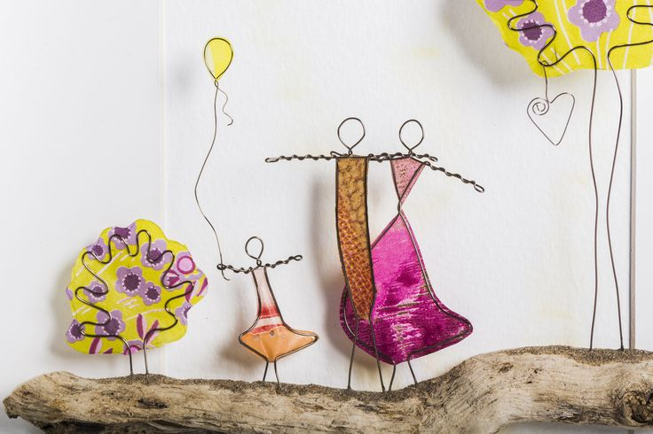 Wire Art: Copper Wire & Paper on Driftwood...