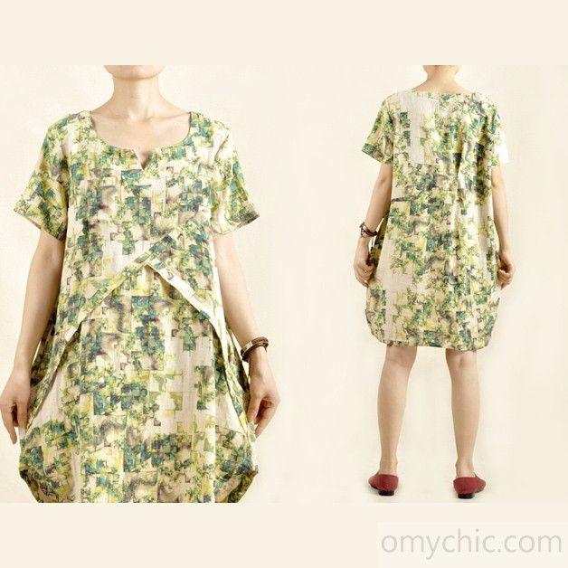 Green floral sundress short sleeve cotton dress