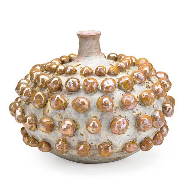 "BEATRICE WOOD (1893 - 1998) Vase with knobs in iridescent glaze, Ojai, CA Signed BEATO 7"" x 8 1/2"""