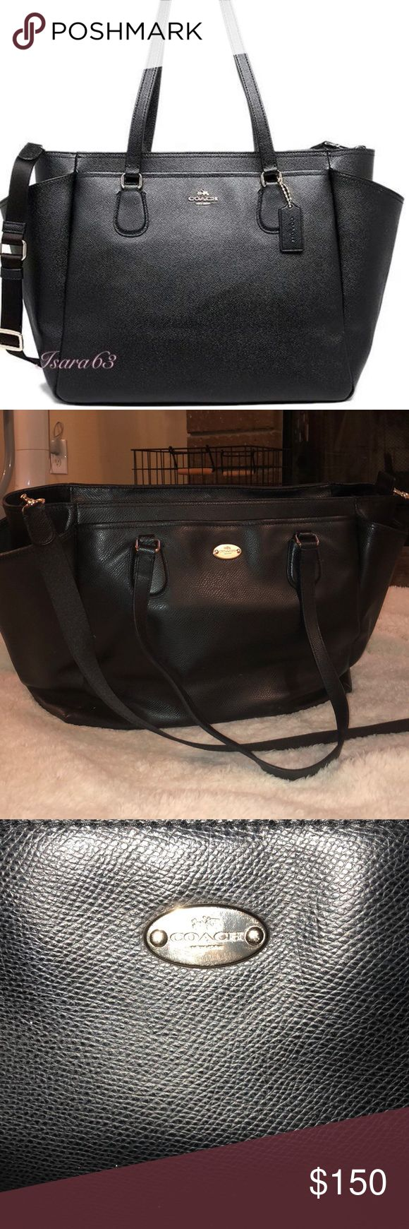 Coach Diaper bag Beautiful Black Leather Coach Diaper Bag  Used this with both my children but is just time for a change  Amazing quality  Slight wear but otherwise great condition Comes with original changing pad and care instructions Coach Bags Baby Bags