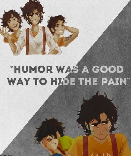 """Humor was a good way to hide the pain"" wallpaper probably with a headshot and comic book in The Leo Valdez Lovers Club"