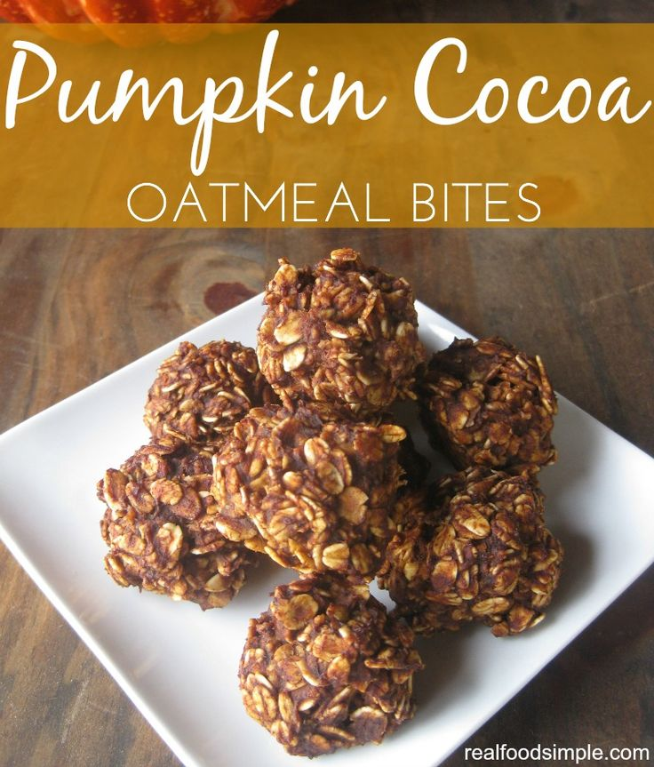 pumpkin cocoa oatmeal bites - only 6 ingredients and 20 minutes for this simple healthy snack   realfoodsimple.com