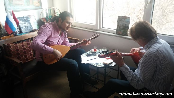 Turkish Music - Saz - Baglama Lesson with our guest from Canada - March 2016 - Istanbul http://www.bazaarturkey.com/tours/turkish_music_lessons.html