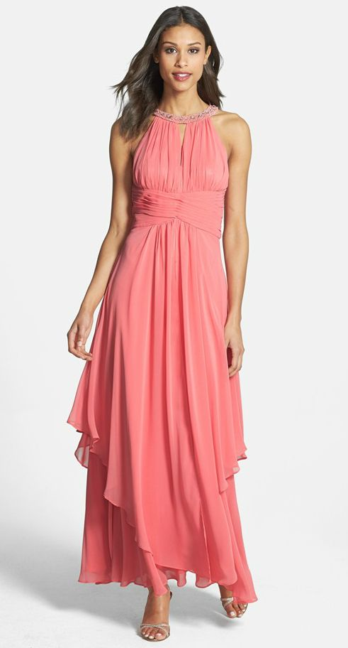 Mother of the bride dresses for a beach wedding mob for Coral bridesmaid dresses for beach wedding