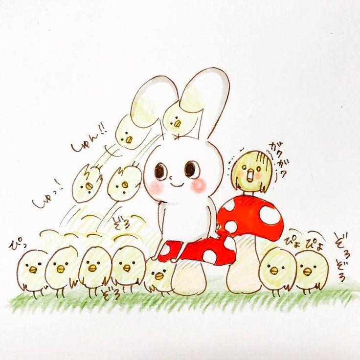 ピヨ丸の悪夢 the nightmare of piyomaru ... #rabbit #chick #bird #tiny #character #lovely #animals #illustration  #mochirabbit #piyomaru #nightmare #increase #brothers #horror #うさぎ #ひよこ #キャラクター #イラスト #キャラ #モチうさぎ #ピヨ丸 #悪夢 #兄弟 #恐怖 #増える