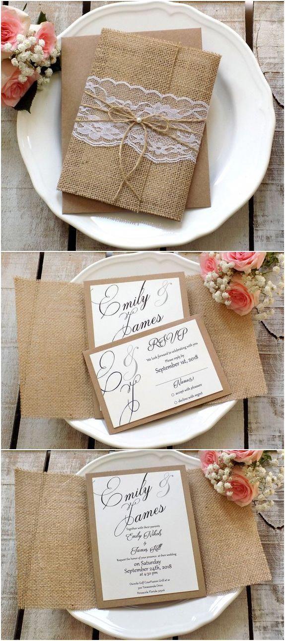 Burlap Wedding Invitation Suite Rustic Set Vintage Lace Invite Invitations Script