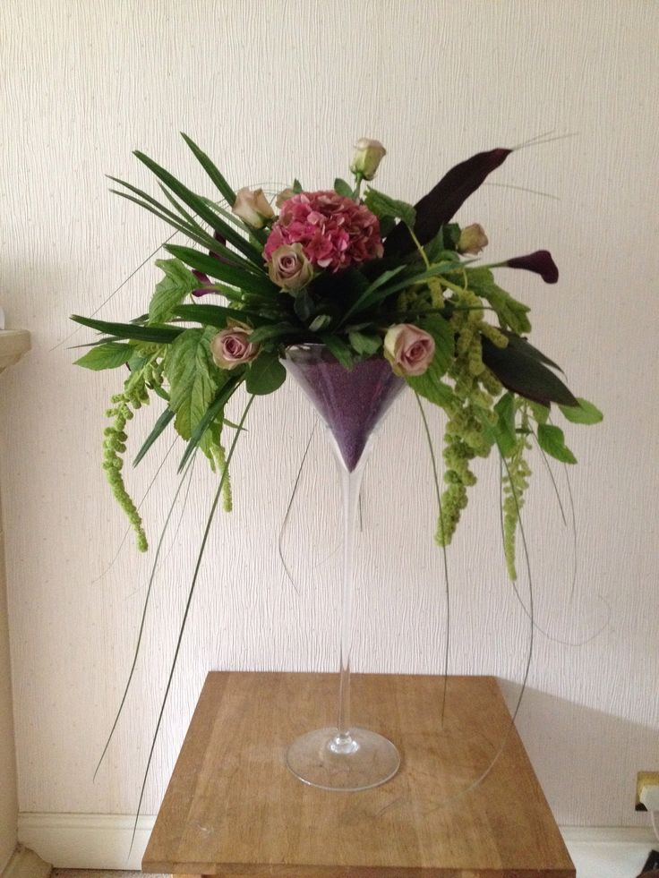 Martini Vase filled with Contemporary Arrangement