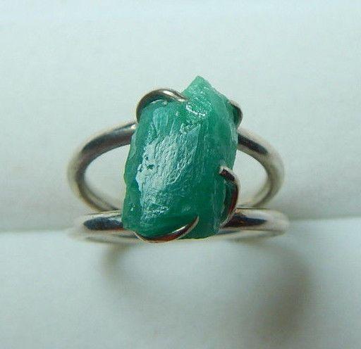 Colombian Emerald Ring Raw Natural Shape 7.00 Cts Silver 925 Size 6.75 Muzo Min #HandmadeByCeCi #Solitaire #Birthday