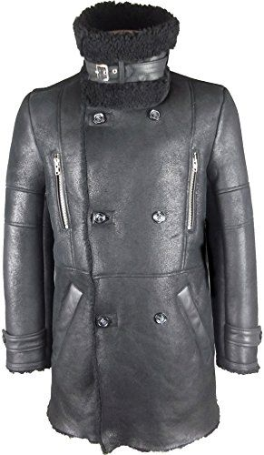 UNICORN Mens Sheepskin Duffle Coat Black With Black Fur Real Leather Jacket #GT