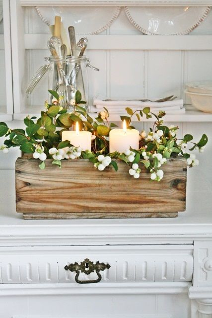 VIBEKE DESIGN - Charming set-up with candles, wood box and wax berries.  Easy yet lovely