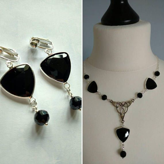 Check out this item in my Etsy shop https://www.etsy.com/uk/listing/535693306/black-crystal-celtic-knot-jewellery-set