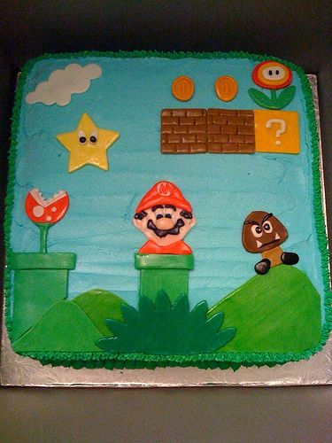 Super Mario cake by WishUponACupcake, via Flickr