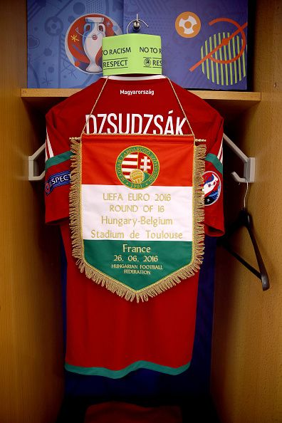 #EURO2016 The shirt worn by Balazs Dzsudzsak of Hungary is hung in the dressing room prior to the UEFA EURO 2016 round of 16 match bewtween Hungary and Belgium...