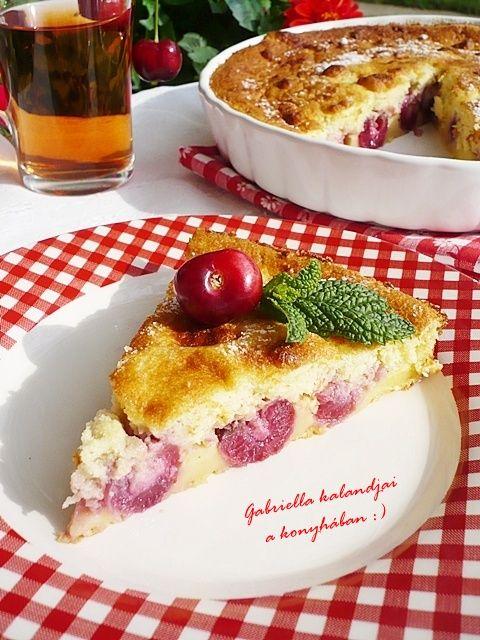 Gabriella kalandjai a konyhában :): Cseresznyés clafoutis - avagy cseresznyés tejes pite