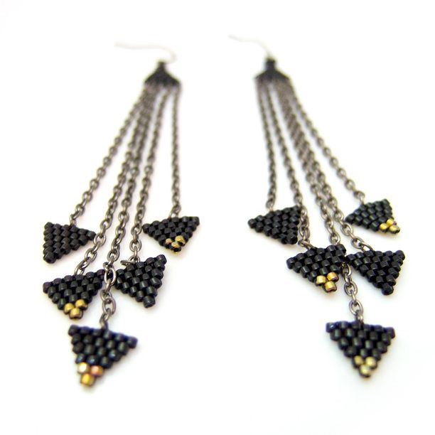 buy glasses online uk Beaded Triangle Earrings Black gold   jewelry