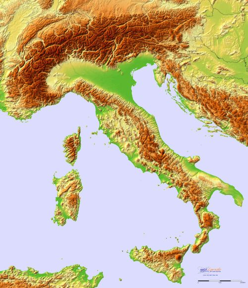 Topographic hillshade map of Italy. (altitude scale)More relief maps »