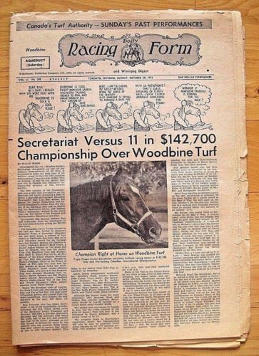 Secretariat.  Rare-1973-Canadian-International-Daily-Racing-Form-Secretariat-039-s-Last-Race