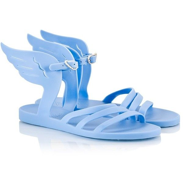 Ancient Greek Sandals - IKARIA Baby-blue rubber wing flat sandals ($89) ❤ liked on Polyvore featuring shoes, sandals, light blue, rubber sandals, baby blue shoes, flexible shoes, waterproof shoes and flat shoes
