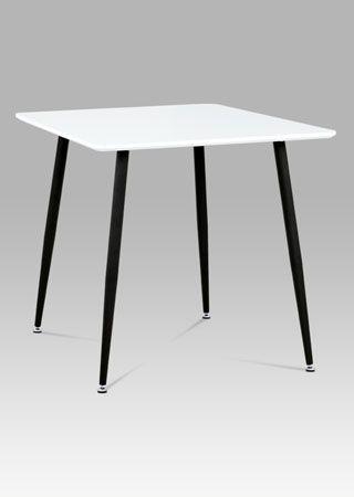 MDT-671 WT  Jídelní stůl 80x80 cm, bílý mat + nohy černý lak.