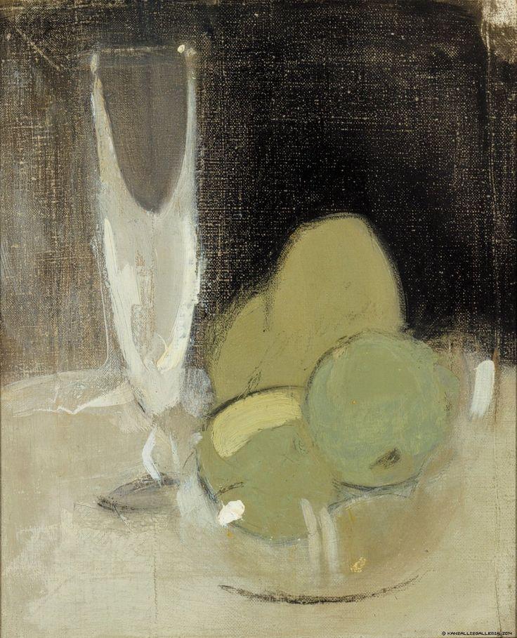 Vihreät omenat ja samppanjalasi, 1934 | Helene Schjerfbeck | Kansallisgalleria | Kuva Hannu Aaltonen