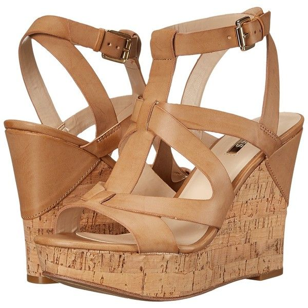 GUESS Harlea (Tan Synthetic) Women's Wedge Shoes ($36) ❤ liked on Polyvore featuring shoes, sandals, tan, open toe platform sandals, wedges shoes, wedge heel sandals, open toe wedge sandals and t strap wedge sandals
