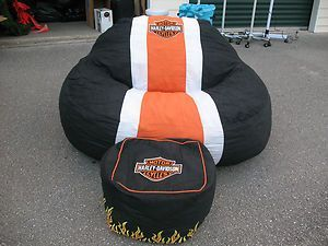 Huge Harley Davidson Overstuffed Bean Bag Chair And Ottoman