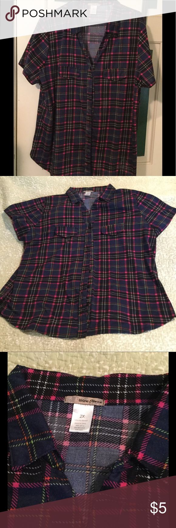 Women's plaid blouse Women's plaid blouse in pink, blue and white plaid.  Short sleeve, double pocket.  100% polyester.  Like new. ultra teeze Tops Blouses