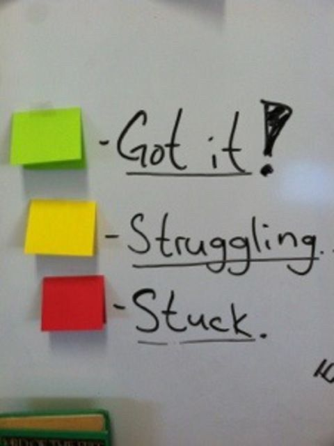 Give kids a visual way to represent their status as they work independently. Index cards to self assess