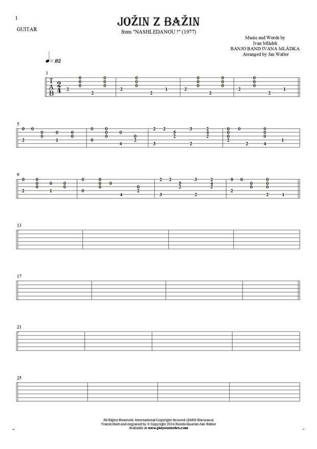Jožin z bažin sheet music by Banjo Band Ivana Mládka. From album Nashledanou! (1977). Part: Tablature for guitar solo (fingerstyle).