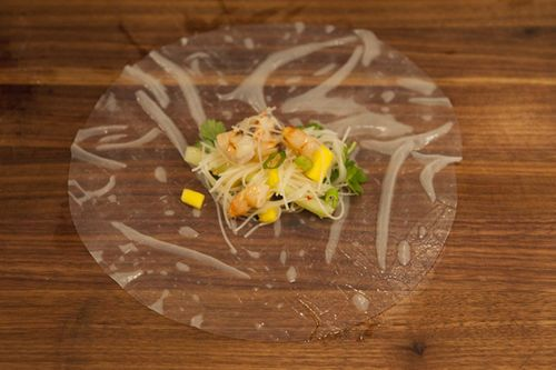 cambodian style spring rolls - shrimp, mango, cucumber, noodles with ...
