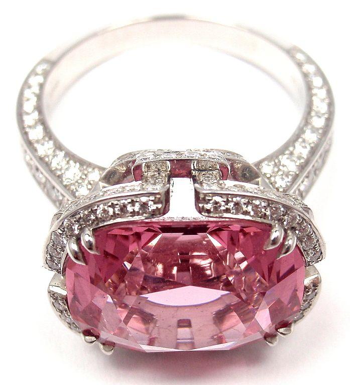 TIFFANY & CO. Diamond Platinum Pink Spinel 'Blue Book' Ring image 3