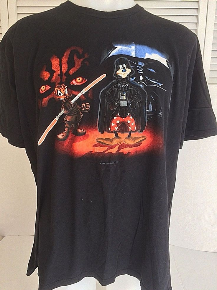 Disney Star Wars T-Shirt Donald as Darth Maul Goofy As Darth Vader 2X #Disney