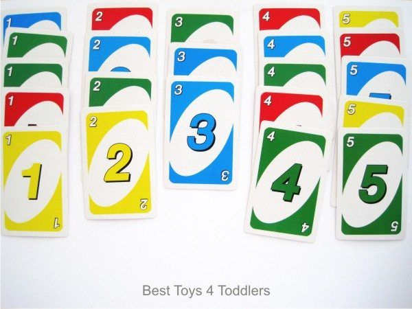 Number recognition practice with toddler using uno card game