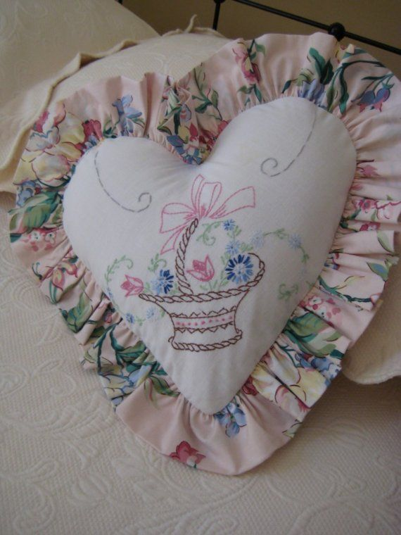 ~ Romantic Heart Pillow made from Vintage Tablecloth ~ Great way to save a heirloom that has been damaged over time....