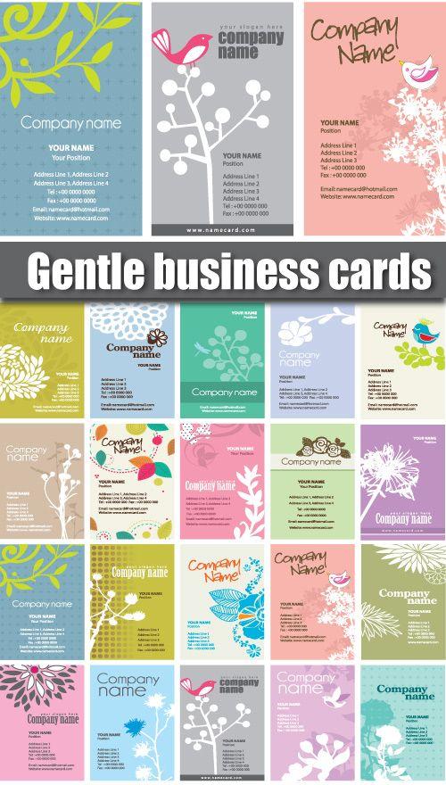小鳥と植物のイラストがめっちゃかわいい! ほのぼのとしたイラストとライトトーンの色調が相まって癒されます Gentle Business CardsVector Te……