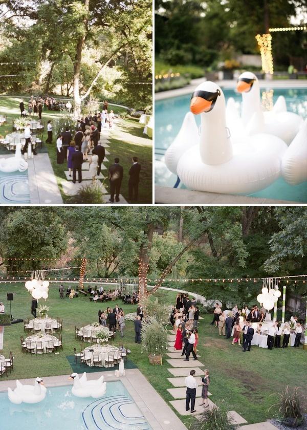 Backyard wedding by gia canali ii backyard and wedding for Garden pool wedding