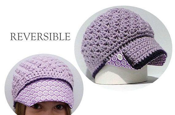 newsboy hat with polka dot fabric brim; button brim hat, reversible hat, wholesale hats, girls hat; crochet hats; crochet newsboy with brim