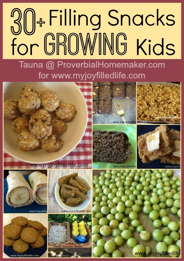 30+ filling snacks for growing kids! Great snack ideas that are fun and healthy. | ProverbialHomemaker.com