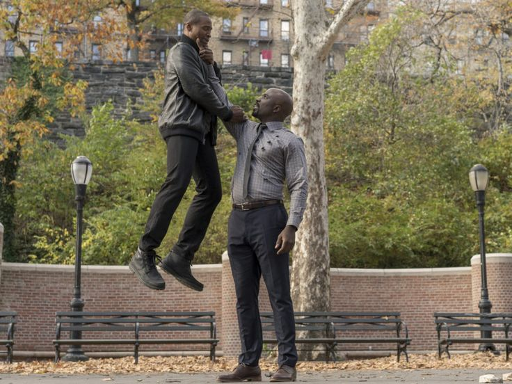 In this image from the Luke Cage series, we see Luke lifting up some dude. From…