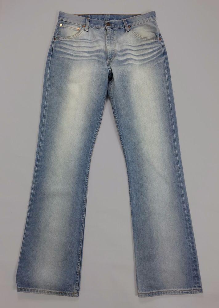 Levis 507 W32 L34 tg 46 jeans vintage uomo zampa azzurri blu levi's boyfriend