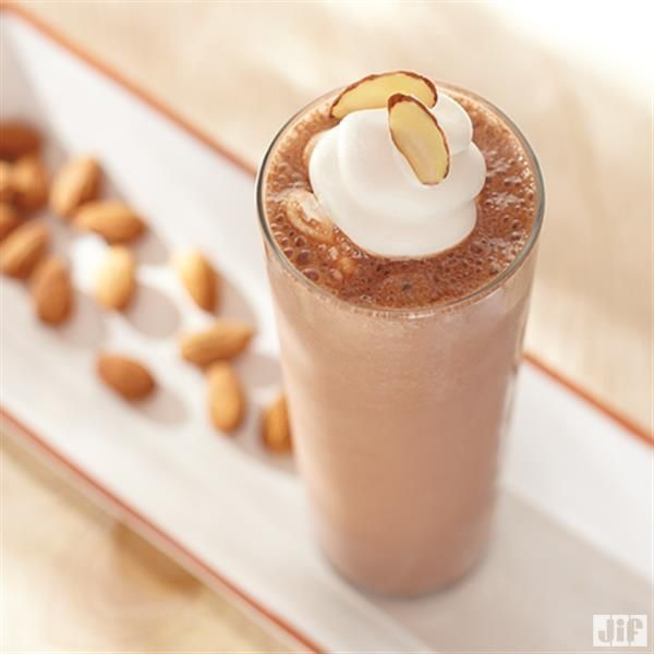 This Chocolate Almond Milkshake recipe from Jif is made with almond milk, almond butter and ice cream for an easy summer treat!