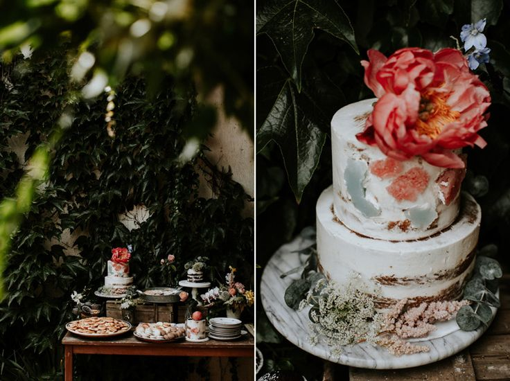 naked wedding cake - with geodes - paeony - www.azentortam.hu