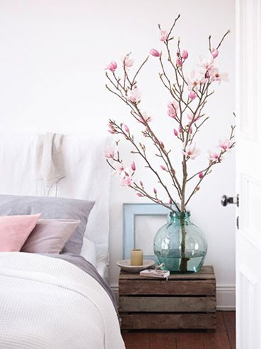 Magnolia - houten krat - pastel