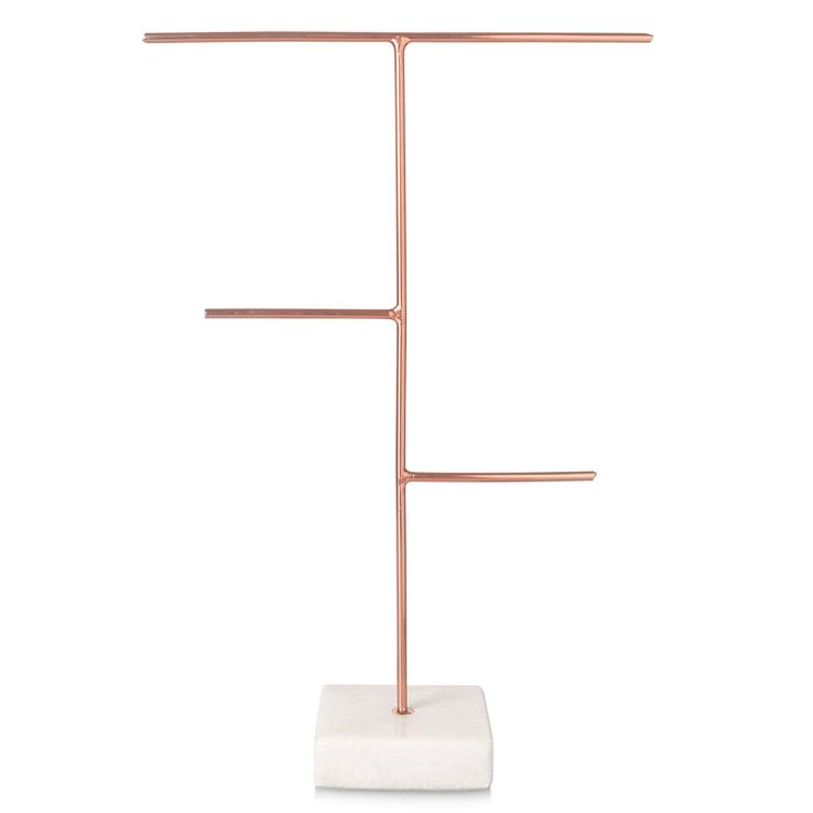 Buy the Three Arm Copper & Marble Base Jewellery Stand at Oliver Bonas. Enjoy free UK standard delivery for orders over £50.
