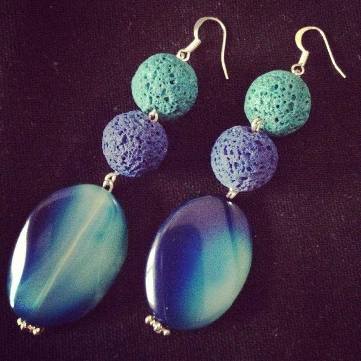 Love love love them!!!! Lava stone + blue plasma stone! #jewels #earring #fashion #style #handmade #jewellery