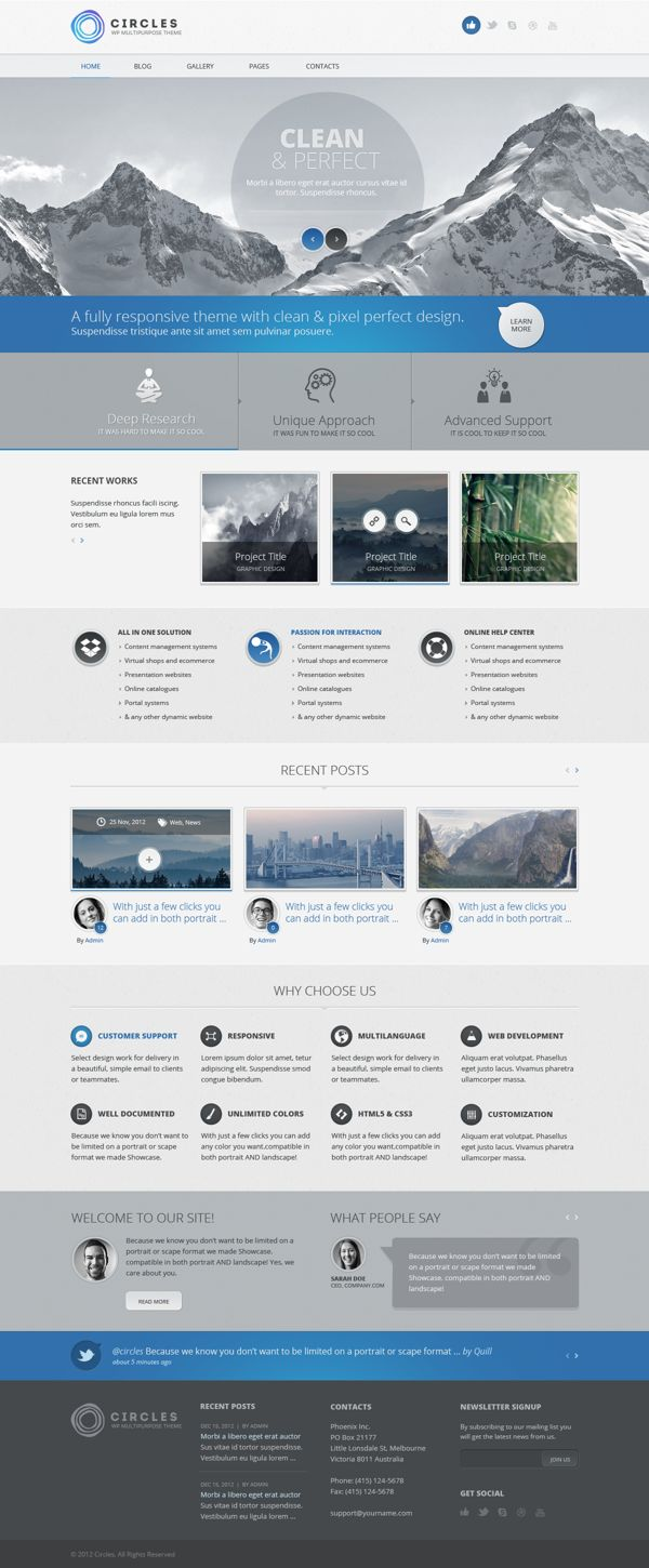 A very simple, straightforward website layout with clean details. Circles PSD Template by Dan Ambrosevich, via Behance